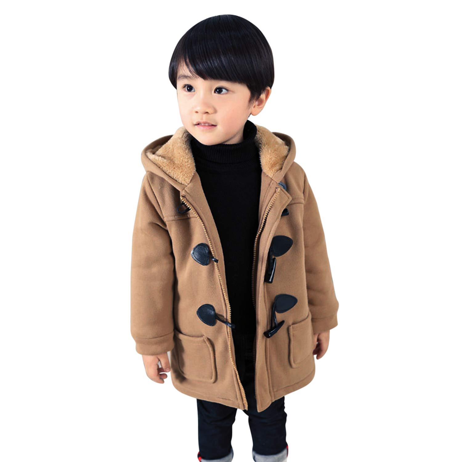 Evelin LEE Baby Boys Outwear Fleece Lined Jacket Toggle Button Duffle Coats with Hoodie