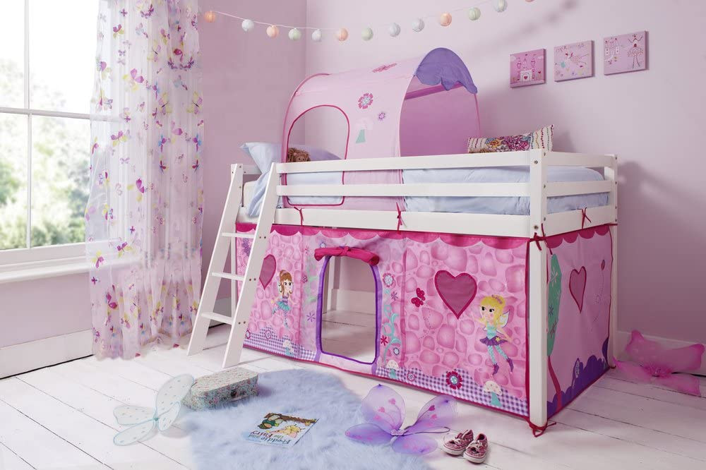 Solid White Noa and Nani Midsleeper Cabin Bed with Fairies Tent and Tunnel