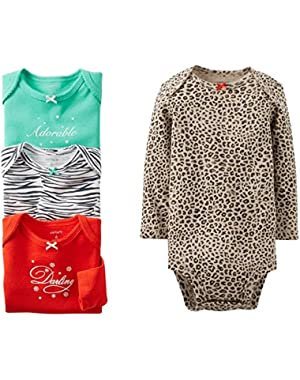Baby Girls' 4 Pack Animal Print Bodysuits (Baby) - Assorted
