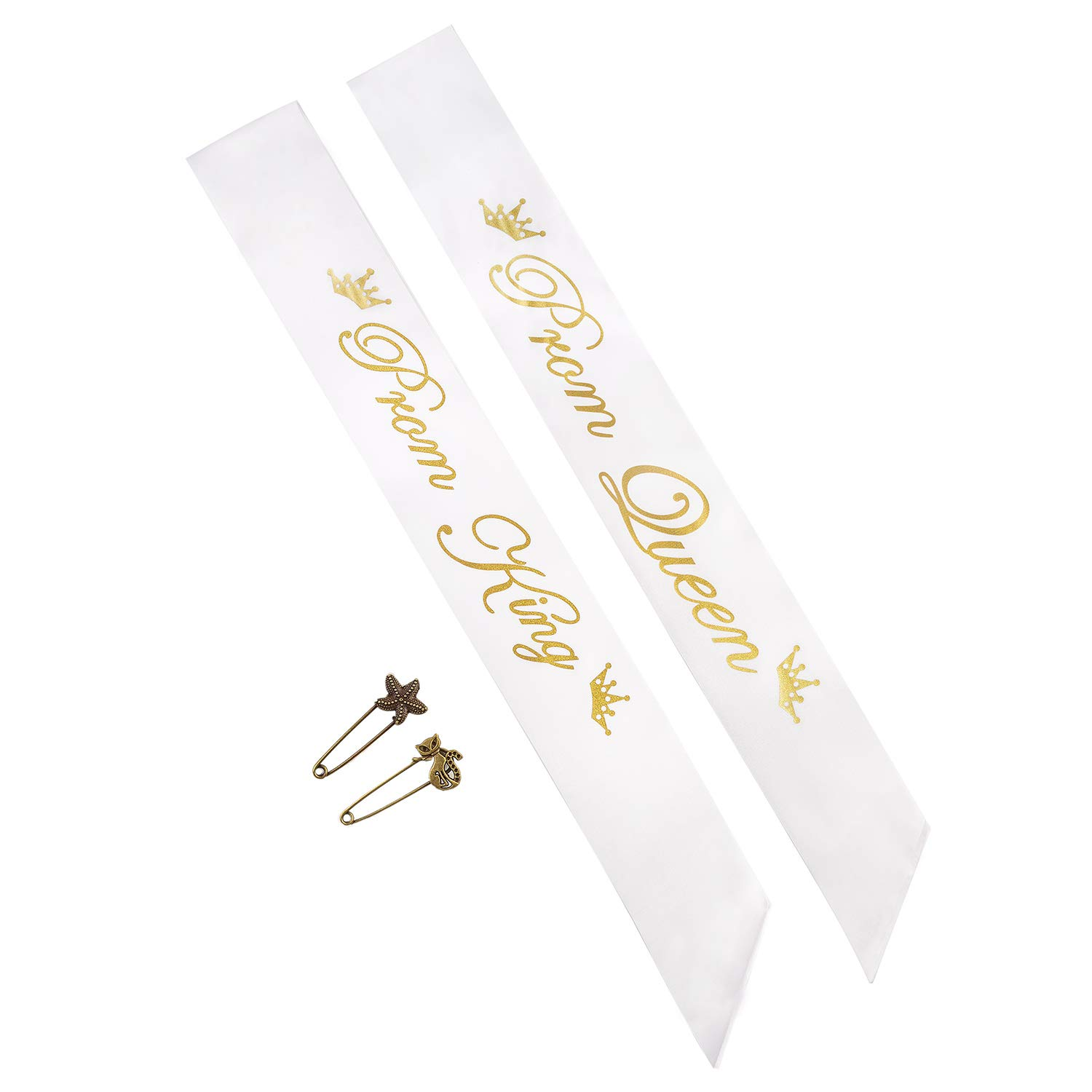 Yolito 2 Pack Prom King and Prom Queen Satin Sash,School Party Accessory,White with Gold Letter