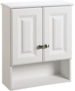 Design House 531715 Wyndham White Semi Gloss Bathroom Wall Cabinet With  2 Doors And