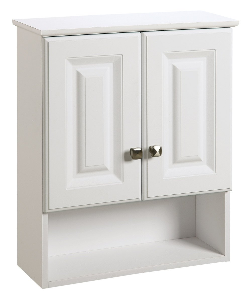 Amazon.com: Design House 531715 Wyndham White Semi Gloss Bathroom Wall  Cabinet With 2 Doors And 1 Shelf, 22 Inches Wide By 26 Inches Tall By  8 Inches Deep: ...