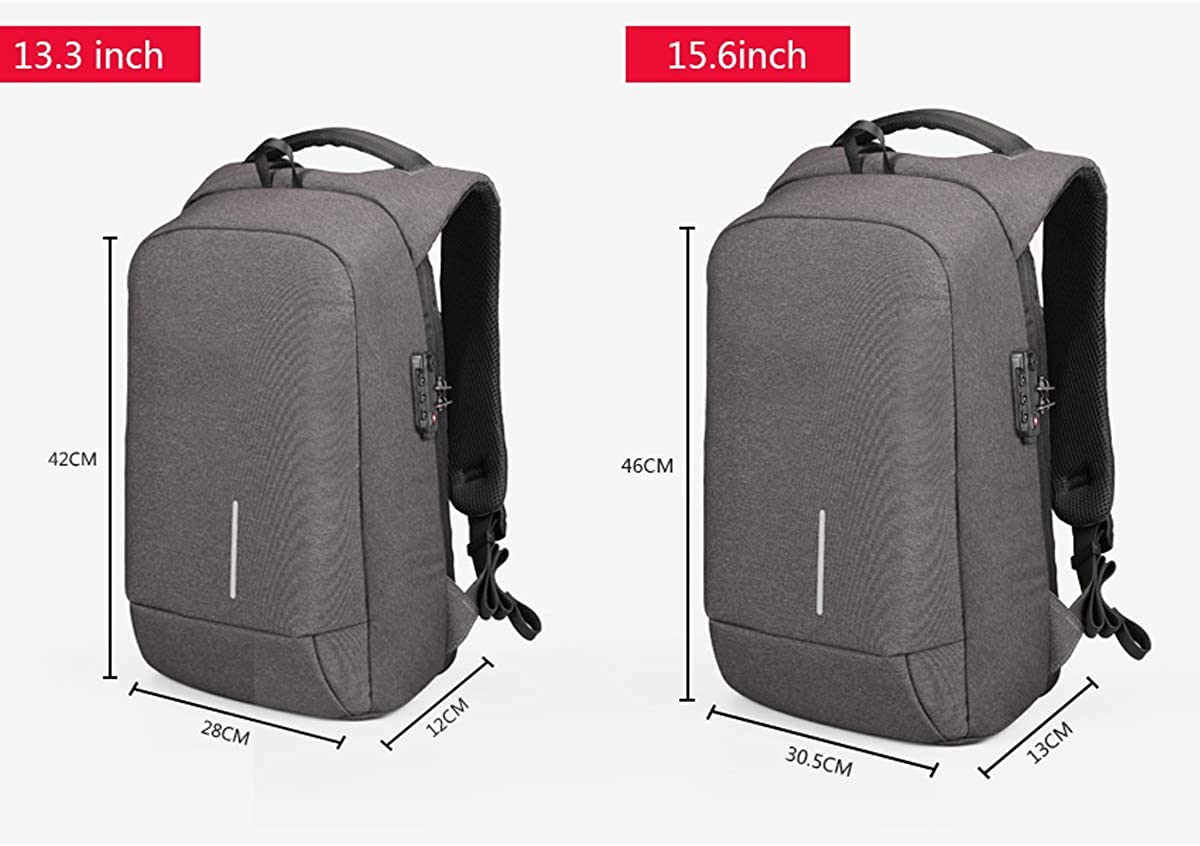 Color : B, Size : 13.3in Mens Bag 1315 USB Charging Backpacks Anti-Theft Backpack Bag Laptop Bags Mens Womens Fashion Travel Bags Nylon