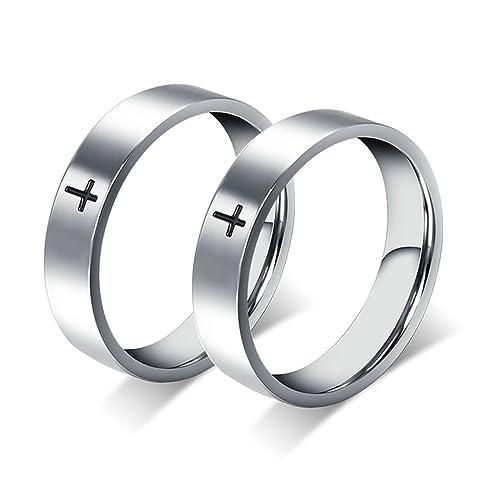 Amazon.com: bishilin 2 piezas anillos de hombre acero ...
