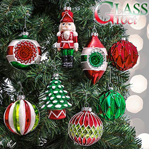 Valery Madelyn 10ct Classic Collection Splendor Glass Christmas Ball Ornaments Red,Green and...