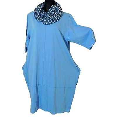 -Kleid-Shirtkleid-Shirt-mit-Loop-Cotton-Kurzarm-Lagenlook-blau-Gr. 46-48