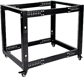 Erommy 12U Open Frame Server Rack Adjustable Depth Floor Standing Date Rock 4-Post Data Rack with Casters (Standing Casters)