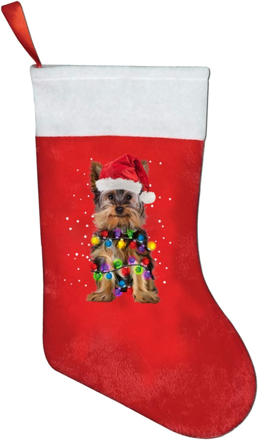 Negi Christmas Stocking for Holiday Fireplace Home Decoration Chriatmas Yorkies Light