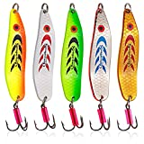 Sougayilang Colorful Hard Spoon Spinner Fishing Lures Metal Treble Hooks Baits Pack of 5pcs