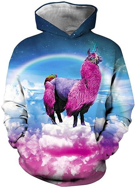 Imilan Boys Hoodie Realistic 3D Galaxy Unicorn Print Hooded Pullover Sweatshirt (100-110cm
