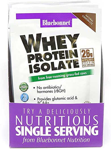 Bluebonnet Nutrition Whey Protein Isolate Powder, Whey From Grass Fed Cows, 26g of Protein, No Sugar Added, Non GMO, Gluten Free, Soy free, kosher Dairy, 8Count, 8 Servings, Chocolate Flavor