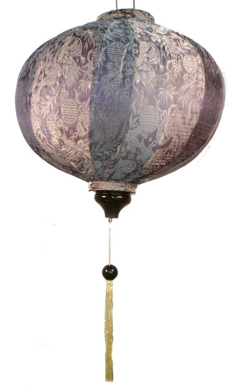 Terrapin Trading Ltd Lampe Artisanale VIETNAMIENNE Orientale Soie & Bambou Lampe Chinois Argent 20'L