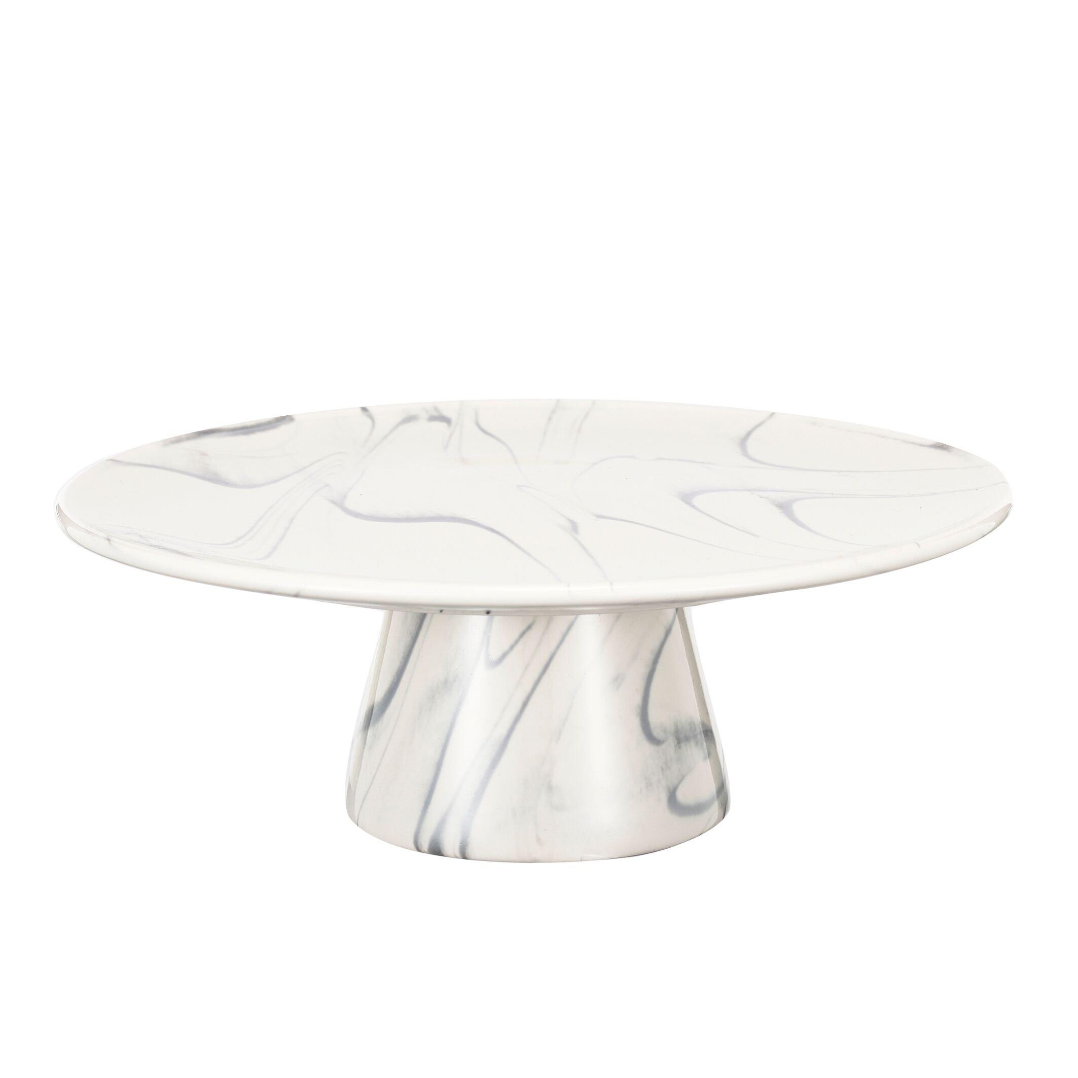Urban Grey, White Stoneware 9'' Artist Fare Cake Display, dessert, Pie Plate Round by Home Love Affair (Image #1)