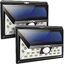 Litom Solar Lights Outdoor, Wireless 24 LED Motion Sensor Solar Lights with Wide Lighting Area, Easy Install Waterproof Security Lights for Front Door, Back Yard, Driveway, Garage (2 Pack)