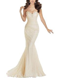 8b8682349dc JYDress Women s Sweetheart Beaded Pleat Lace Wedding Dress Mermaid Bridal  Gown