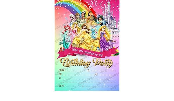 Las niñas Disney princesa fiesta de cumpleaños invitaciones ...