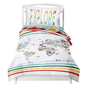 "Where The Polka Dots Roam Twin World Map Reversible Duvet Cover Set with 1 Pillowcase for Kids Bedding - Double Brushed Microfiber Does Not Shrink or Wrinkle (68"" L x 86"" W) (68"" L X 86"" W)"