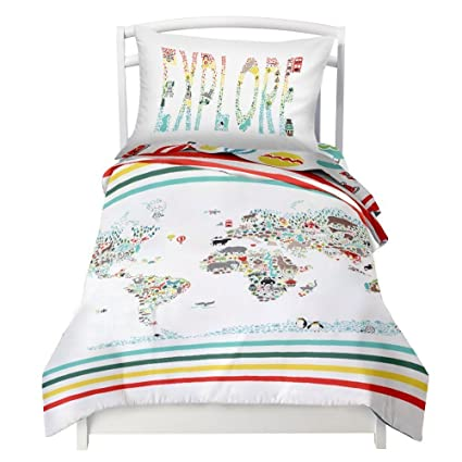 twin world map reversible duvet cover set with 1 pillowcase for kids bedding double brushed