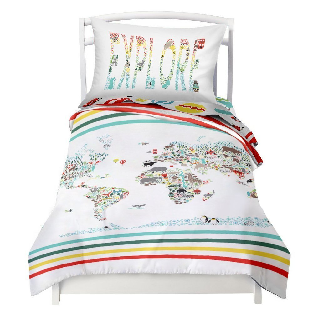 Where The Polka Dots Roam Twin World Map Reversible Duvet Cover Set 1 Pillowcase Kids Bedding - Double Brushed Microfiber Does Not Shrink Wrinkle (68'' L x 86'' W) (68'' L X 86'' W)