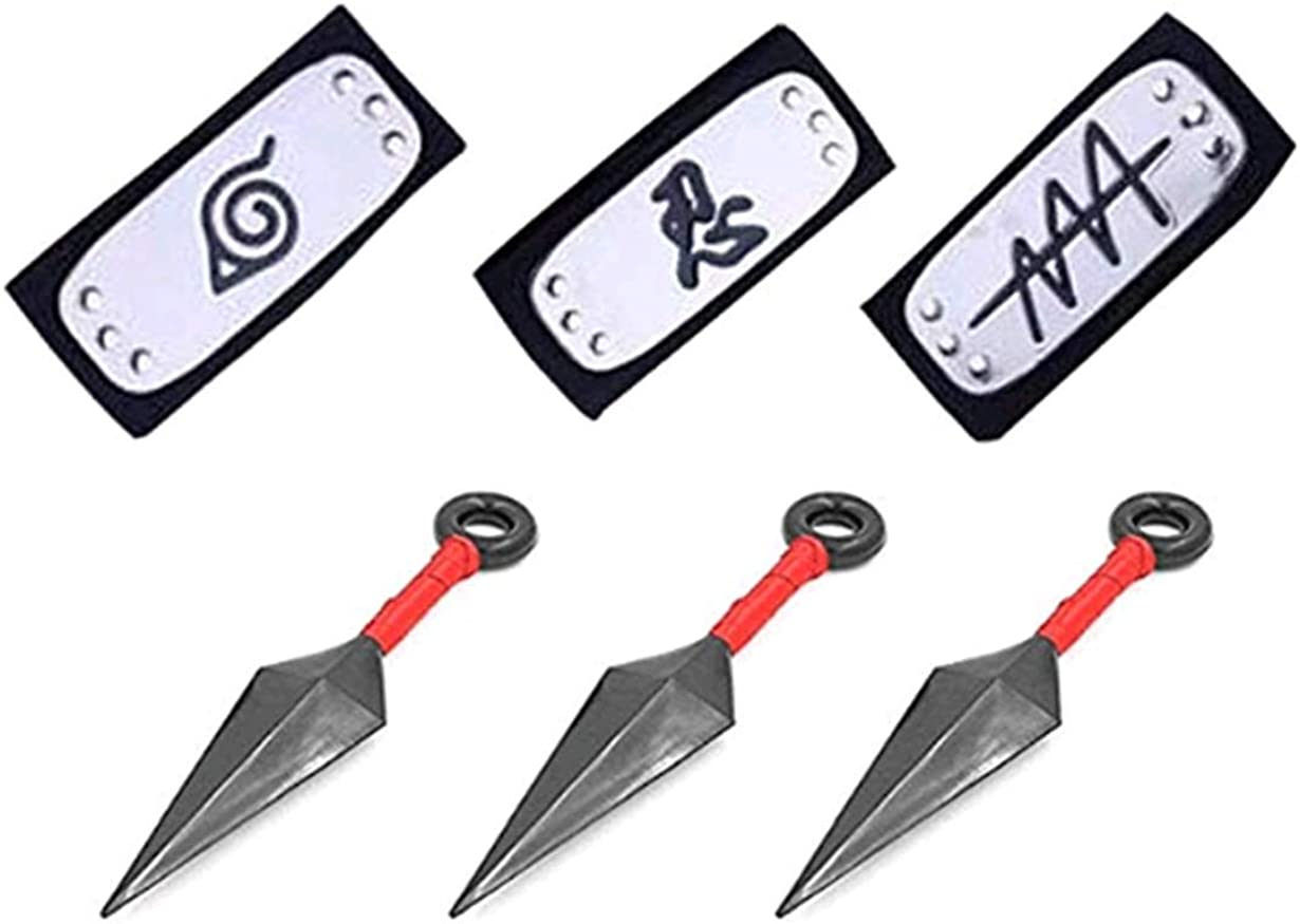 3 Pcs Big Kunai Plastic Toy Leaf and 3 PCS Naruto Costume Metal Plated Cosplay Leaf Village Ninja Kakashi [Black]