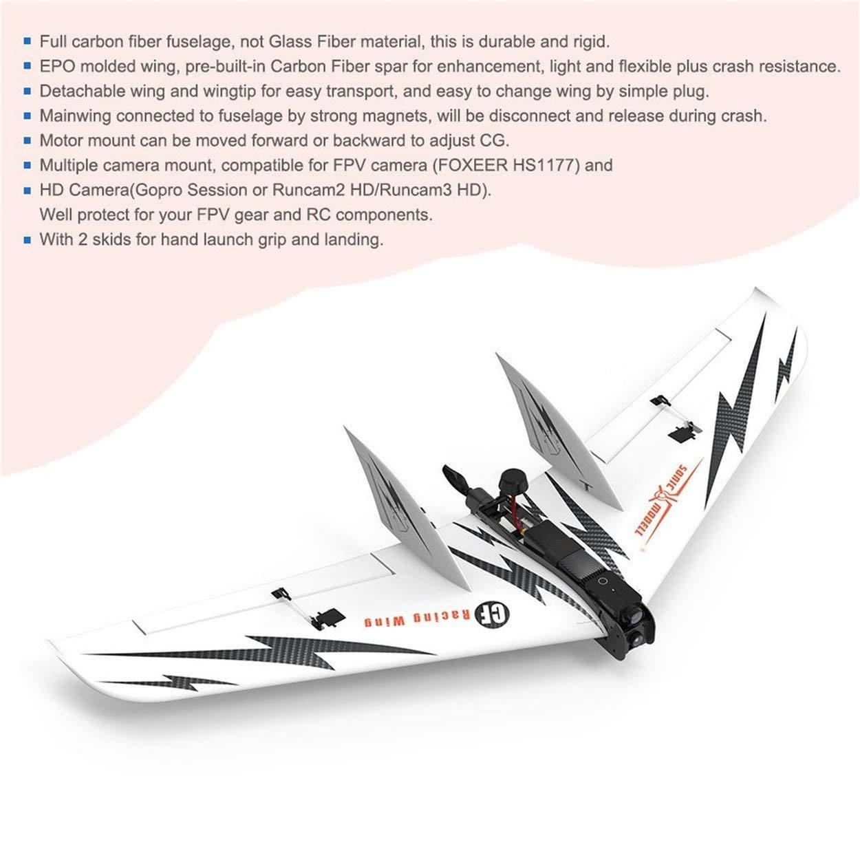 Lorenlli Fit Sonic Modell 1030mm Drohne Spannweite EPO FPV Festflügel RC Flugzeug Drohne 1030mm Flugzeug PNP Kohlefaser RC Flugzeug mit Brushless Motor dcfc5c