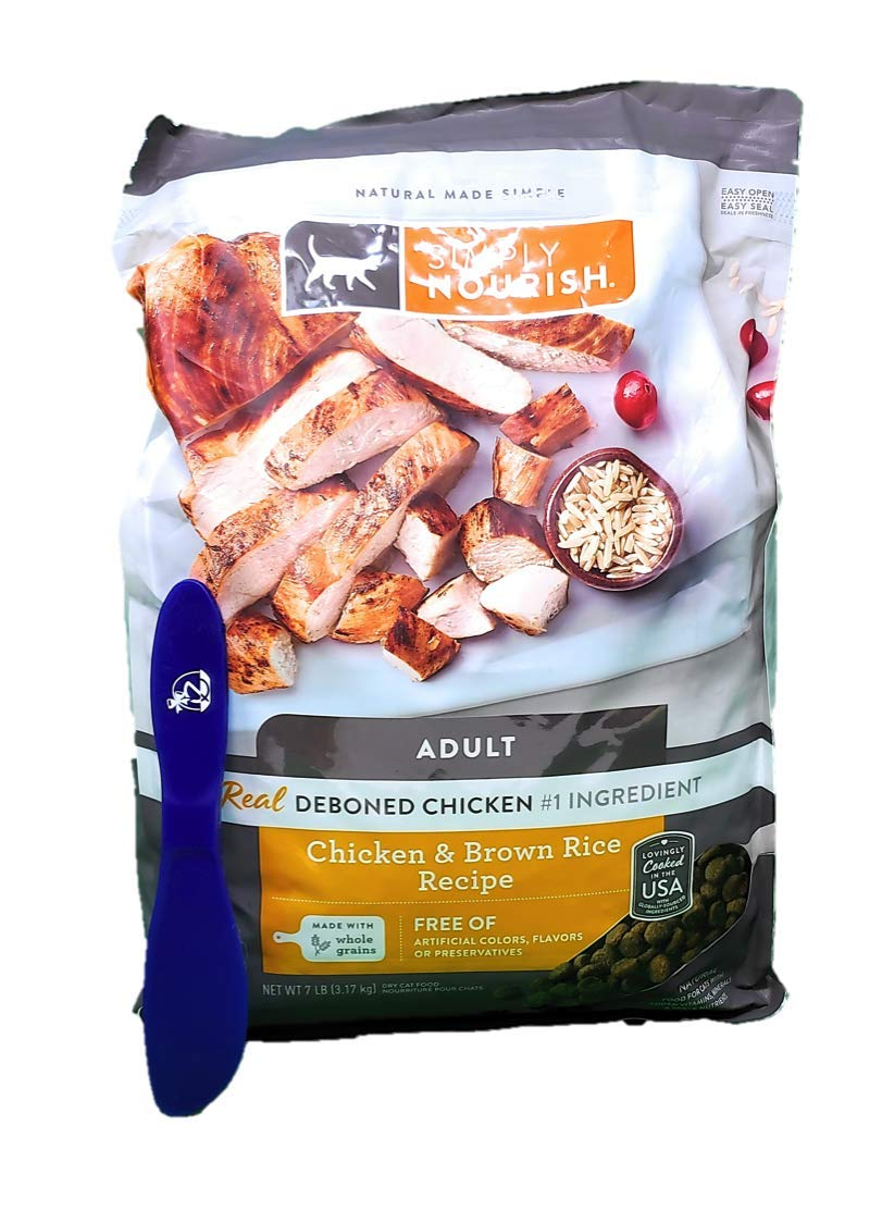 SIMPLY NOURISH Adult Dry Cat Food, Chicken and Brown Ricel 7 Pounds and Especiales Cosas Mixing Spatula