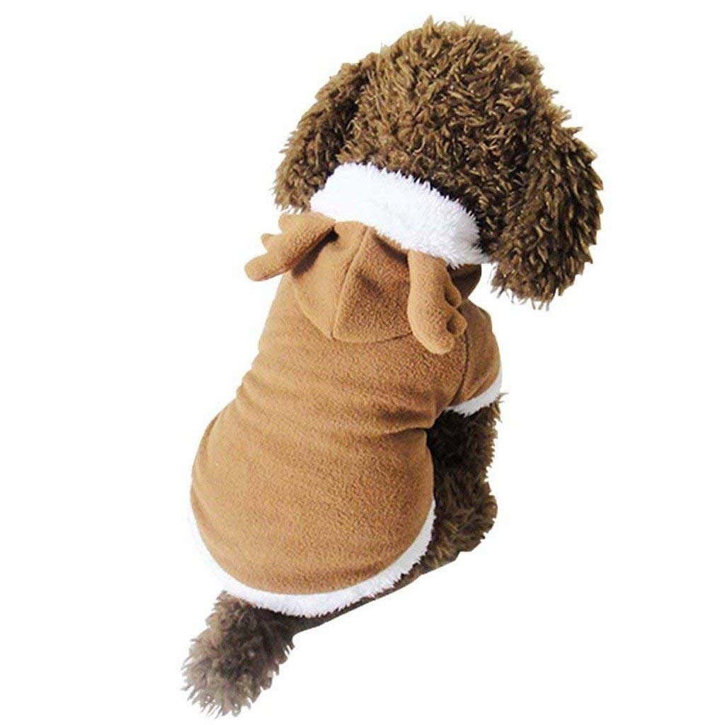 Dog Cat Cute Christmas Clothes Reindeer Costume, Funny Pet Elk Costumes Cosplay Dress, Puppy Fleece Outfits Warm Hoodie Animal Festival Apparel Clothes (M Size)
