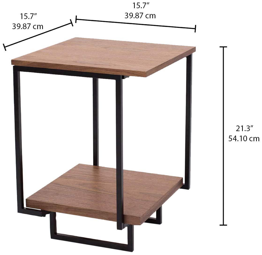 Rivet Table dappoint /à 2 /étag/ères en noyer et /à base en m/étal noir 40/x/54/cm
