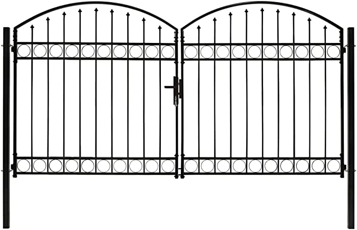 guyifuzhuangs Vallas de jardín Puertas de jardínCancela de Valla Doble Puerta con Arco 300x175 cm Acero Negro: Amazon.es: Hogar
