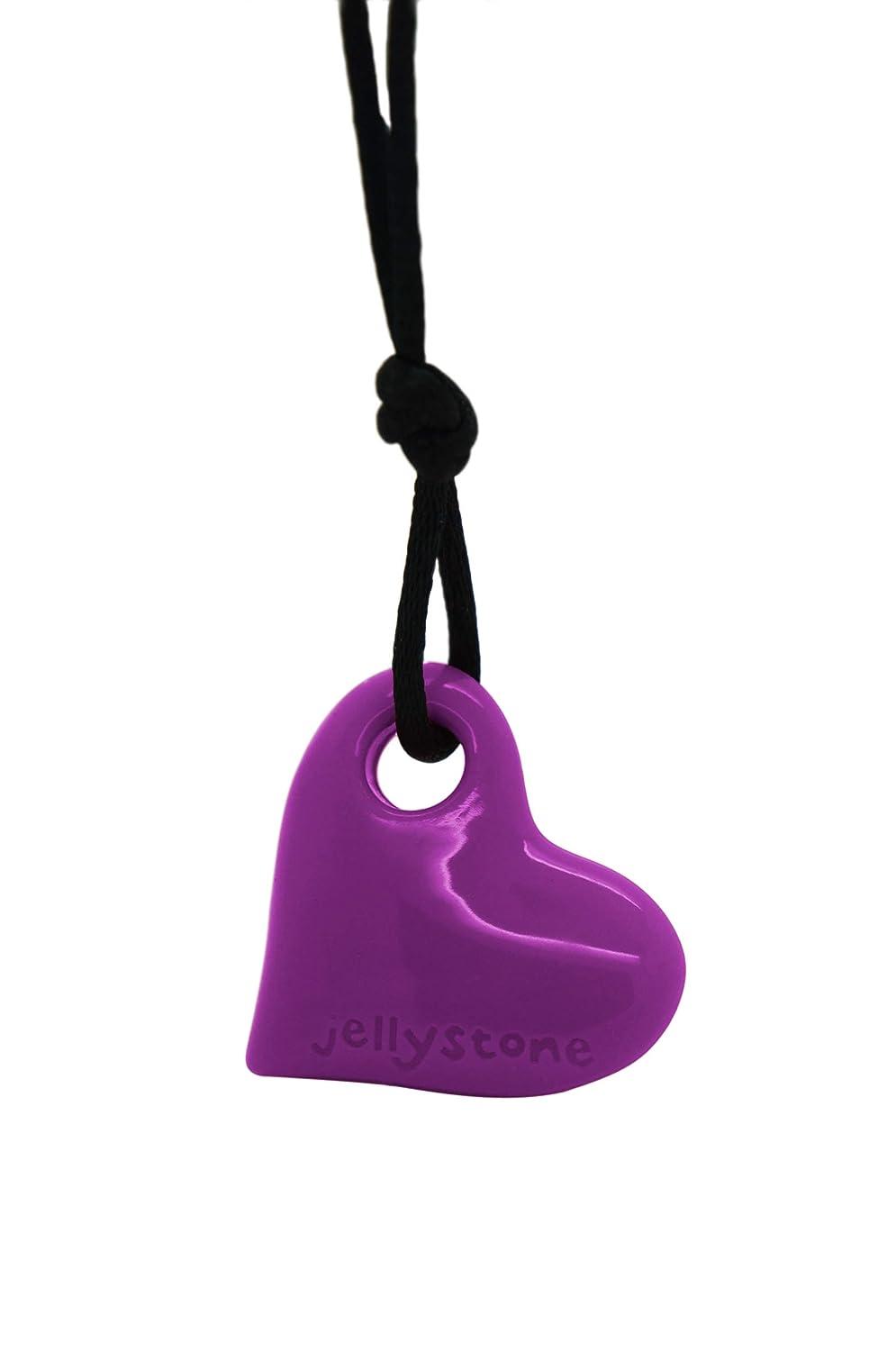 Jellystone Junior Heart Pendant Silicone Non-Toxic Chewelry Necklace HPG Purple Grape