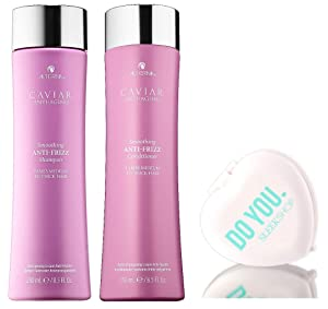 Alterna CAVIAR Anti-Aging ANTI-FRIZZ SHAMPOO & CONDITIONER Duo Set FOR MEDIUM TO THICK HAIR (with Sleek Compact Mirror) (8.5 oz / 250 ml - DUO KIT)