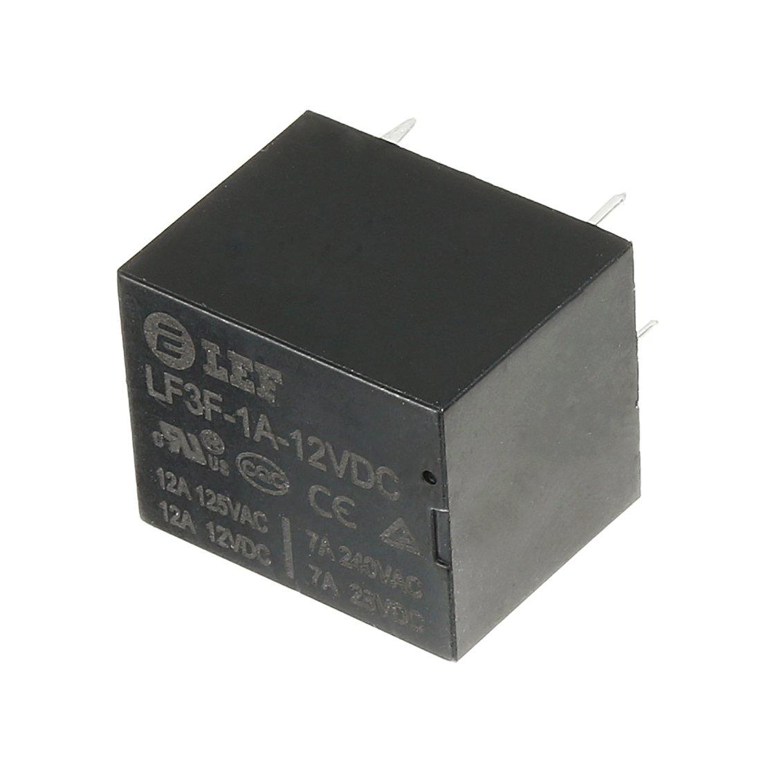 uxcell 10Pcs DC 12V Coil SPST NO 4P Power Electromagnetic Relay DIN Rail//PCB Mounted 125V//12V 12A 240V//28V 7A