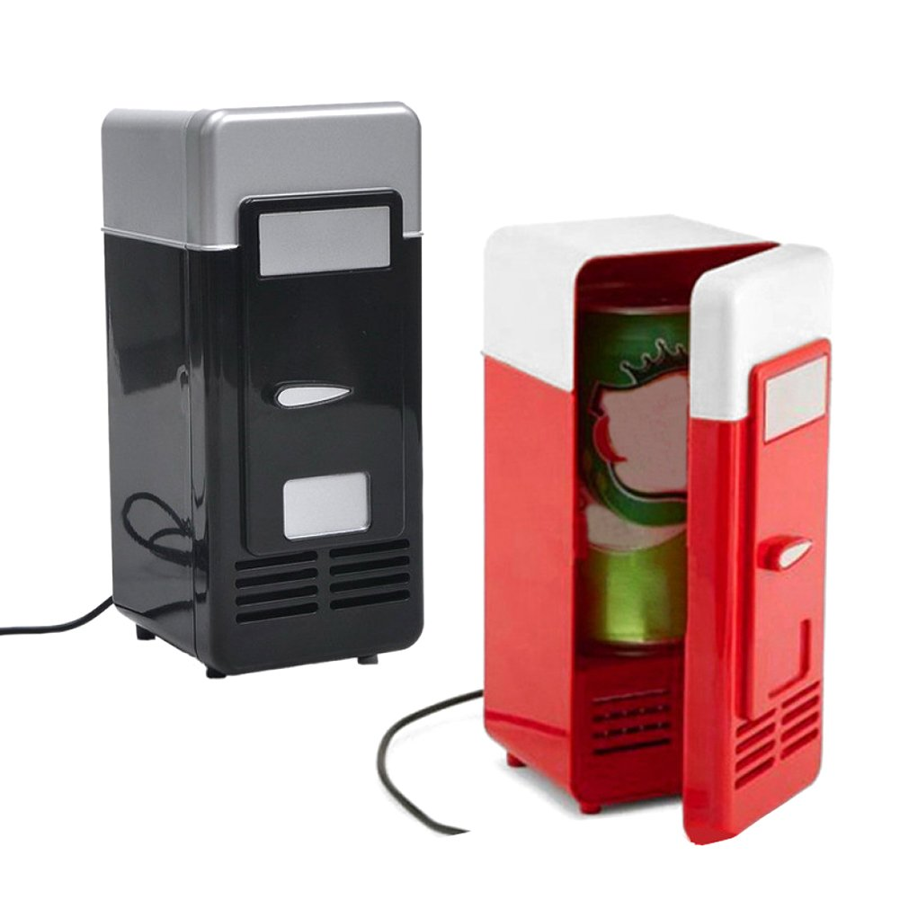 Portable 1 Can Mini Fridge Cooler Beer Beverage Drink Cans Cooler Mini Refrigerator 5V USB Ports for Home Office Car or Boat Red//Black Black