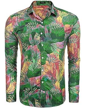 Men's Hawaiian Shirt Stylish Floral Print Slim Fit Long Sleeve Casual Button Down Shirt