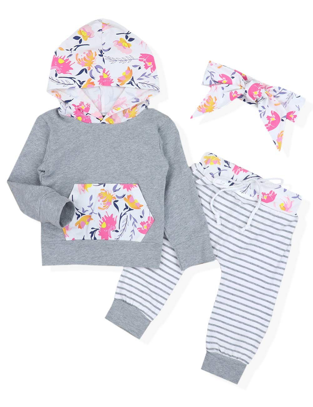 Baby Girl Outfits Florals Hoodie Top with Pocket Striped Long Pants and Headband Clothes Set(0-6 Months)