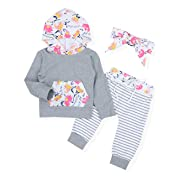 Baby Girl Outfits Florals Hoodie Top with Pocket Striped Long Pants and Headband Clothes Set(12-18 Months) Gray