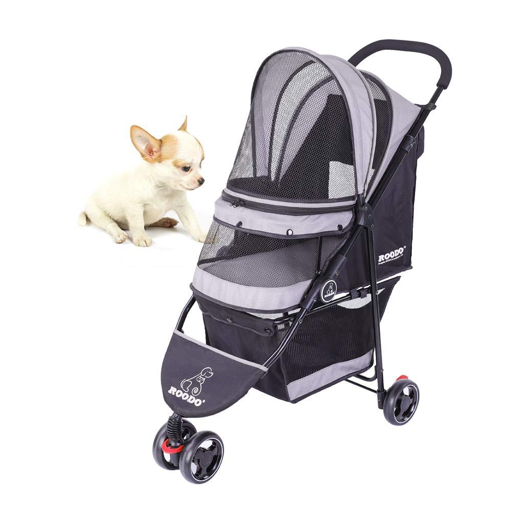 SeedFuture 3 Wheeler Pet Stroller Cat/Dog Cat Easy Walk Folding Travel Carrier (Grey)