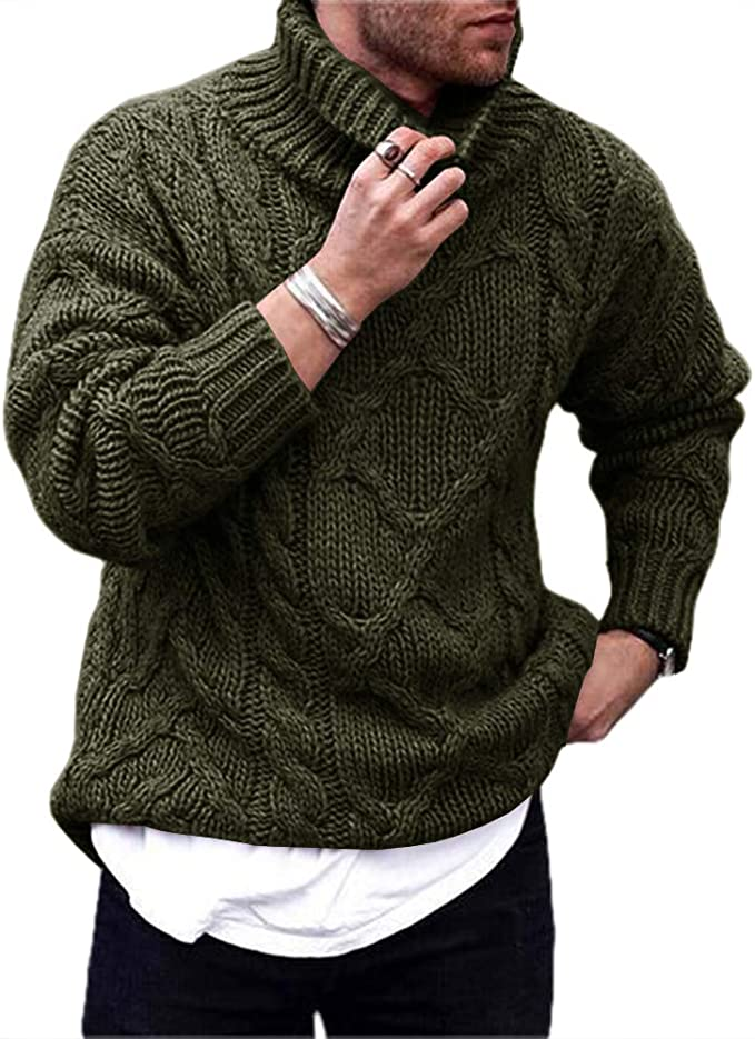 Gafeng Mens Cable Ribbed Knit Turtleneck Pullover Sweater Winter Loose Fit Chunky Thermal Workout Sweater