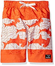 Big Chill Boys\' Shark Color Block Swim Trunk, Orange, 10/12