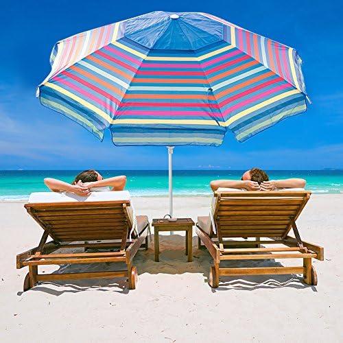 Abba Patio 7 Feet Beach Umbrella with Sand Anchor, Push Button Tilt and Carry Bag, Adjustable Height Fiberglass Rib Patio Umbrella, Multicolor