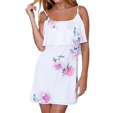 8aa229865691 HCFKJ Kleid Damen Sommer Elegant 2018 Urlaub Blumenkleider Damen Sommer  Strandkleid Sling Dress (S,