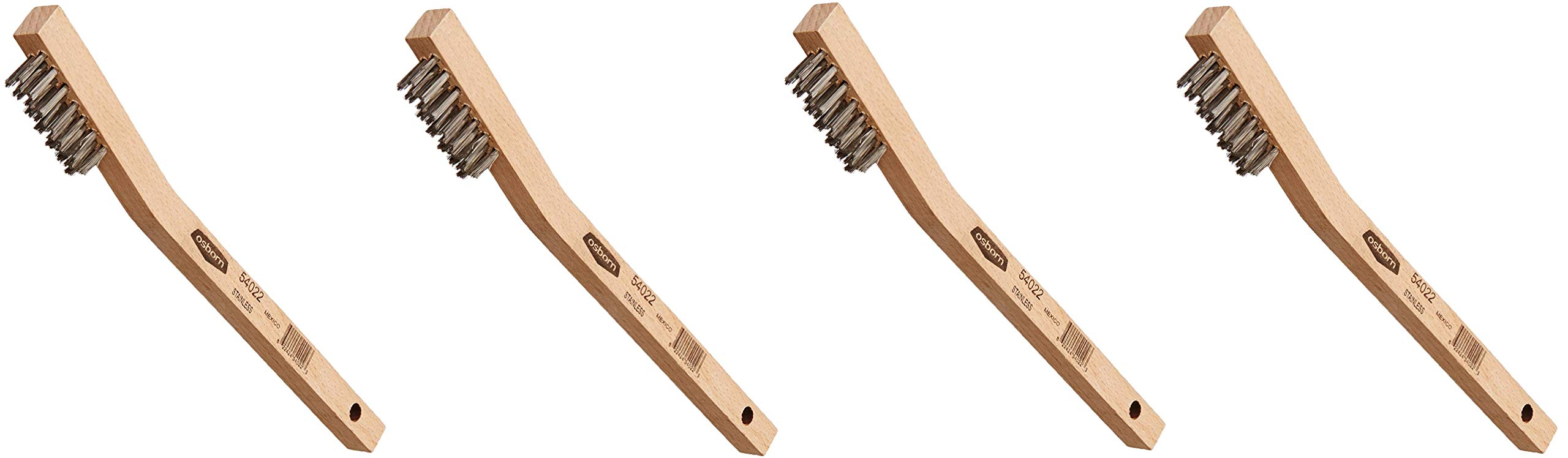 Osborn International 54022SP Small Cleaning Stainless Steel Wire Angle Back Scratch Brush, 0.006'' Fill Diameter, 1-7/16'' Brush Area Length, 7-3/4'' Overall Length (Fоur Paсk)