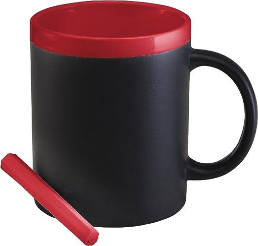 Pizarra Taza de café taza Rojo (Gres con dos rotuladores) apto ...
