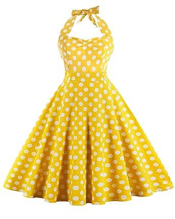 b85c6463fd6 ZAFUL Women s 50s Vintage Rockabilly Halter Neck Dress Swing Tea Dress Party  Cocktail Gown (S