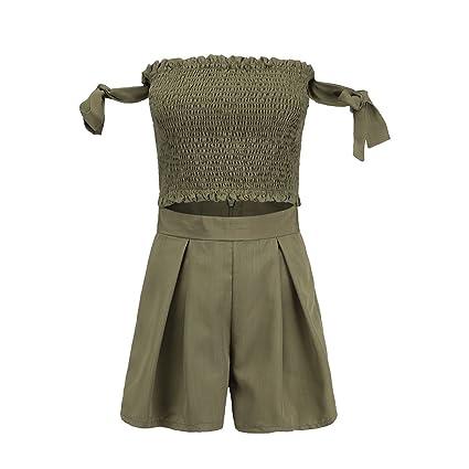 9205e97968 Amazon.com  Army Green 2 Piece Set Women Summer Shorts Suits Ladies ...