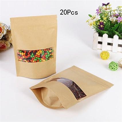 VEIREN Zip Lock Paper Bags Tear Notch Kraft Bag Stand Up With Window 20Pcs  Brown Craft