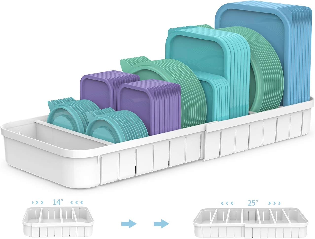 Expandable Food Container Lid Organizer, Lid Storage Organizer, Plastic Lid Organizer, Lid Organizer for Cabinet, Kitchen Container Organizer, Food Storage Lid Organizer