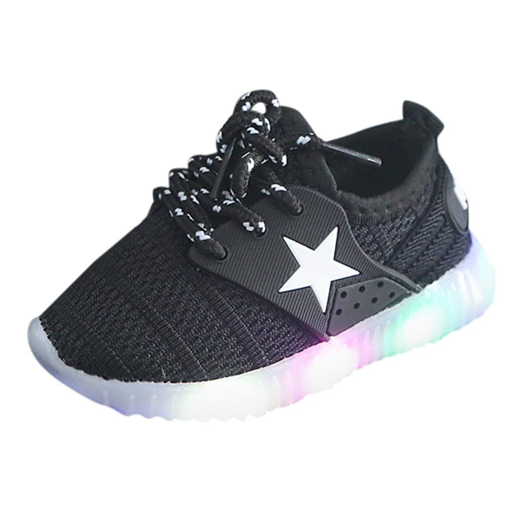 Anxinke Kids Boys Girls Casual Lightweight Comfy Lace-up Sneakers with LED Lighting (7 M US Toddler, Black) by Anxinke