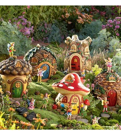 Amazoncom Fairy Village Special 5 Fairy Houses Fairy Set