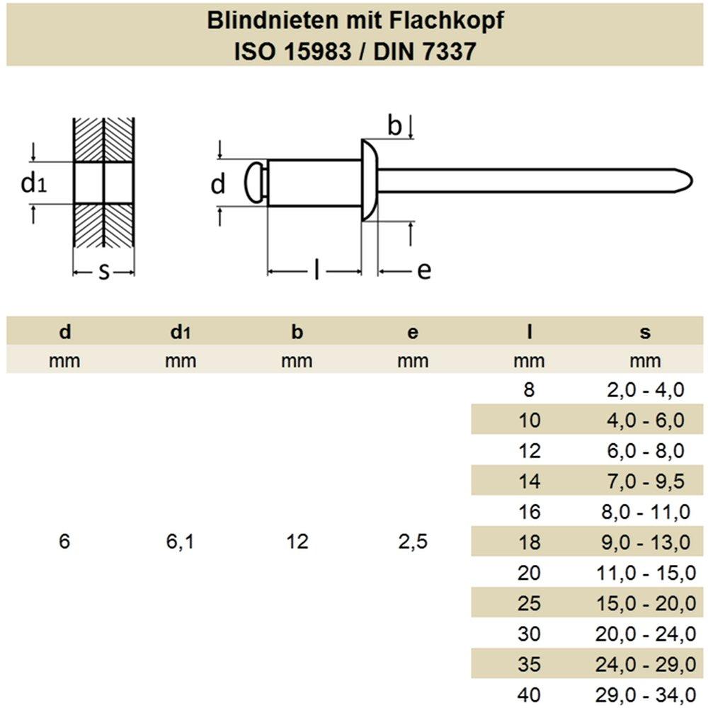 DERING Blindniet 6,0x12 mm mit Flachkopf DIN 7337 Edelstahl A2 30 St/ück rostfrei | Nieten